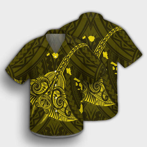 Hawaiian Map Kanaka Manta Ray Polynesian Hawaiian Shirt Yellow - AH - J4R - Alohawaii