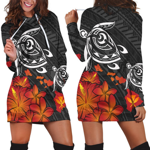 Hawaiian Map Kanaka Turtles Hibiscus Plumeria Hoodie Dress - AH - J4R
