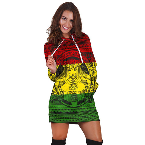 Hawaiian Map Madame Pele Mauna Kea Plumeria Polynesian Hoodie Dress Reggae AH - J7R | Hawaiian Women's Hoodie Dress - Hawaiian Hoodie Dress