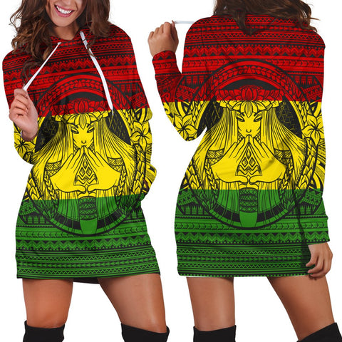 Image of Hawaiian Map Madame Pele Mauna Kea Plumeria Polynesian Hoodie Dress Reggae AH - J7R