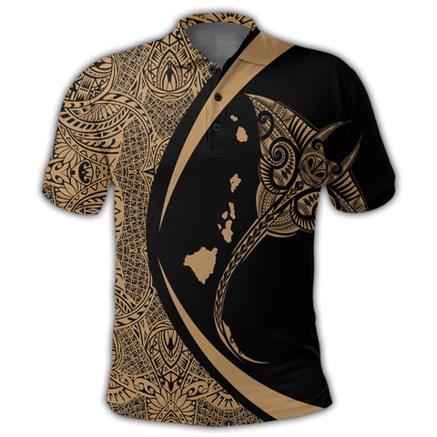 Image of Hawaiian Map Manta Ray Polynesian Polo Shirt - Gold - AH - J4R | Alohawaii Store | Hawaiian Polo Shirt Hawaiian Polo Shirt - Hawaii Polo Shirt For Men - Hawaii Polo Shirt For Women - Hawaii Polo Shirt For Kane - Hawaii Polo Shirt For Wahine