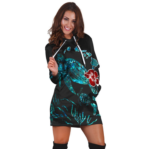 Hawaiian Map Turtle Hibiscus Ohana Honu Paua Shell Hoodie Dress - AH - J6R | Hawaiian Women's Hoodie Dress - Hawaiian Hoodie Dress