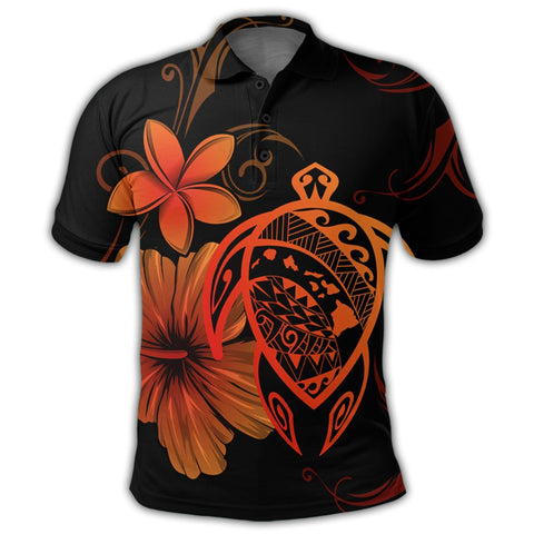 Hawaiian Map Turtle Hibiscus Plumeria Polynesian Polo Shirt - Orange - AH - J4R | Alohawaii Store | Hawaiian Polo Shirt Hawaiian Polo Shirt - Hawaii Polo Shirt For Men - Hawaii Polo Shirt For Women - Hawaii Polo Shirt For Kane - Hawaii Polo Shirt For Wahine