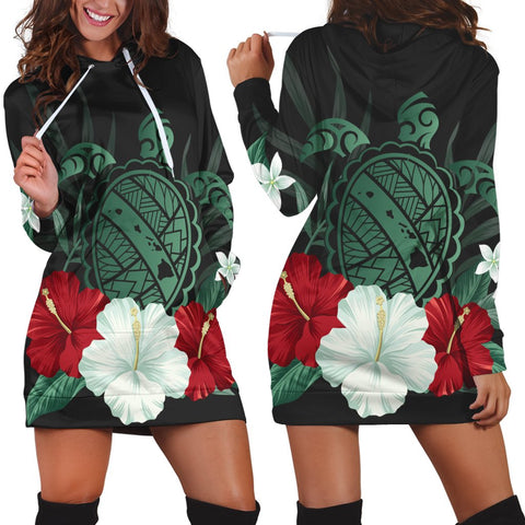 Hawaiian Map Turtle Hibiscus Polynesian Hoodie Dress - AH - J4R