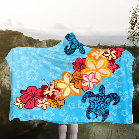 Hawaiian Ocean Turtle Plumeria And Hibiscus Polynesian Hooded Blanket - AH - JR | Hawaii Hooded Blanket - Hawaiian Hooded Blanket - Hooded Blanket For You