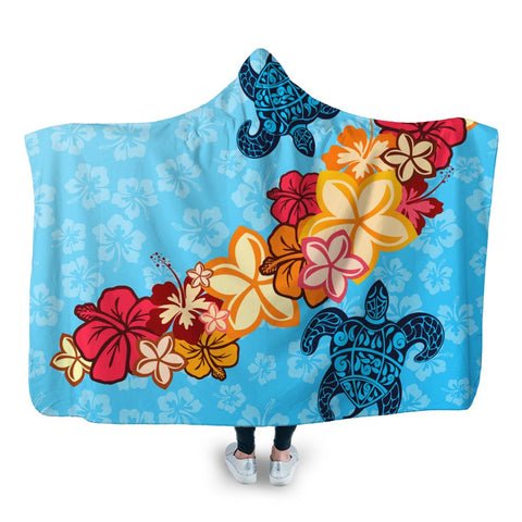 Hawaiian Ocean Turtle Plumeria And Hibiscus Polynesian Hooded Blanket - AH - JR