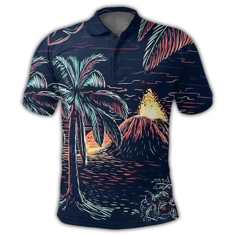 Image of Hawaiian Palm Tree Volcano Night On The Land Polo Shirt - AH - JR | Alohawaii Store | Hawaiian Polo Shirt Hawaiian Polo Shirt - Hawaii Polo Shirt For Men - Hawaii Polo Shirt For Women - Hawaii Polo Shirt For Kane - Hawaii Polo Shirt For Wahine