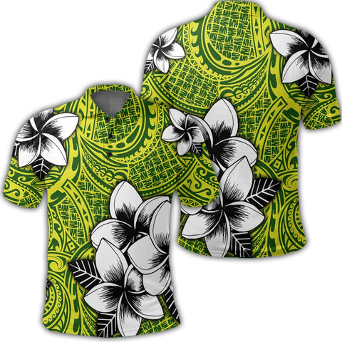 Hawaiian Plumeria Tribe Yellow Green Polynesian Polo Shirt AH - J0R