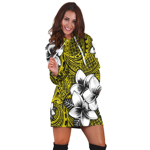 Hawaiian Plumeria Tribe Yellow Polynesian Hoodie Dress AH - J0R | Hawaiian Women's Hoodie Dress - Hawaiian Hoodie Dress