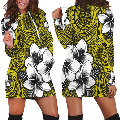 Hawaiian Plumeria Tribe Yellow Polynesian Hoodie Dress AH - J0R
