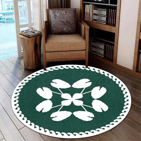 Image of Hawaiian Quilt Pattern Hibiscus Kalo Round Carpet