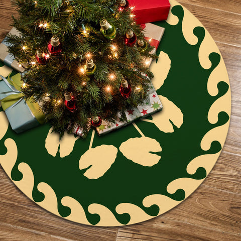 Hawaiian Quilt Pattern Kalo Tree Skirt - Green Beige - AH J8
