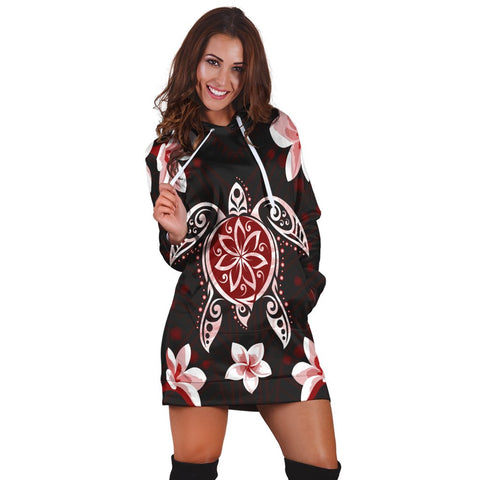Hawaiian Reddie Turtle Plumeria Hoodie Dress AH - J0R | Hawaiian Women's Hoodie Dress - Hawaiian Hoodie Dress