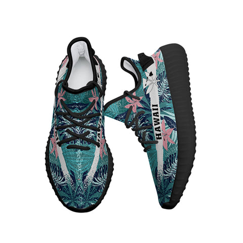Hawaiian Sneakers YZ Tropical Monstera Leaf Blue - Alohawaii