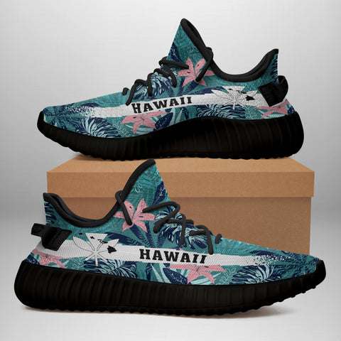 Image of Hawaiian Sneakers YZ Tropical Monstera Leaf Blue - Alohawaii