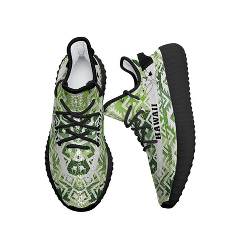 Image of Hawaiian Sneakers YZ White Seamless Ethnic Pattern Monstera Leaf - Alohawaii