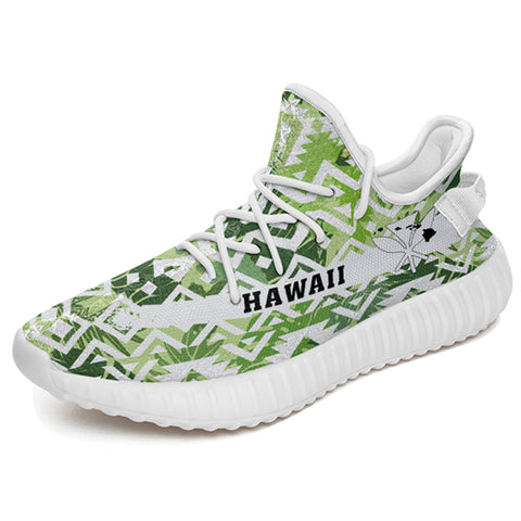 Hawaiian Sneakers YZ White Seamless Ethnic Pattern Monstera Leaf - Alohawaii