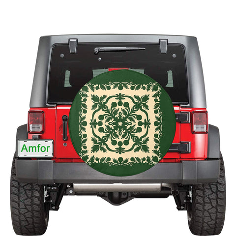 Hawaiian Spare Tire Cover Royal Pattern - Emerald Green - AH - J3 - Alohawaii