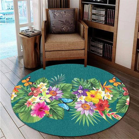 Hawaiian Tropical Strelitzia Plumeria Orchids Hibiscus Polynesian Round Carpet - AH - JR | Alohawaii Store | Home Set Home Decor | Accessories for your home | Hawaiian Round Carpet | Polynesian design for you