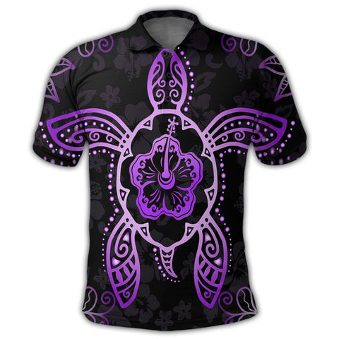 Hawaiian Turtle And Hibiscus Polynesian Polo Shirt Violet - AH - JR | Alohawaii Store | Hawaiian Polo Shirt Hawaiian Polo Shirt - Hawaii Polo Shirt For Men - Hawaii Polo Shirt For Women - Hawaii Polo Shirt For Kane - Hawaii Polo Shirt For Wahine