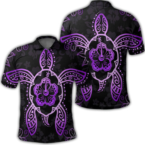Hawaiian Turtle And Hibiscus Polynesian Polo Shirt Violet - AH - JR