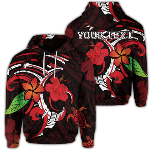 Hawaiian Turtle Hibiscus And Plumeria Flower Polynesian Hoodie - AH - J4R