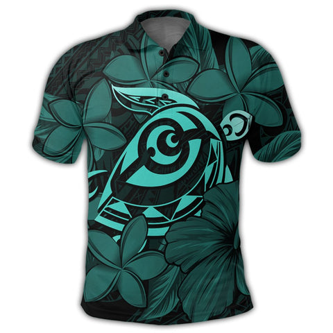 Hawaiian Turtle Hibiscus Plumeria Kanaka Polynesian Polo Shirt Turquoise - Soft Style - AH - J4R | Alohawaii Store | Hawaiian Polo Shirt Hawaiian Polo Shirt - Hawaii Polo Shirt For Men - Hawaii Polo Shirt For Women - Hawaii Polo Shirt For Kane - Hawaii Polo Shirt For Wahine