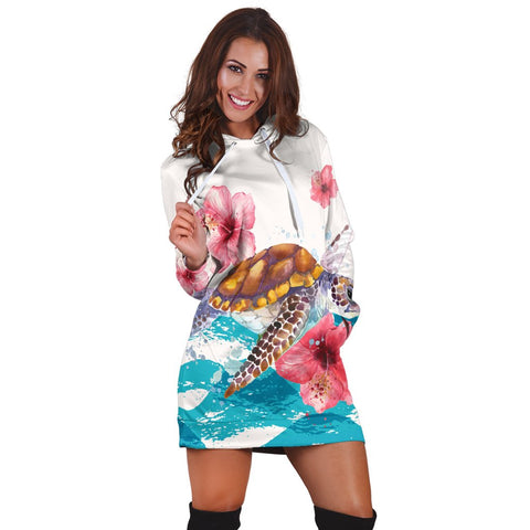 Hawaiian Turtle Hibiscus Waves Polynesian Hoodie Dress - AH - A0 | Hawaiian Women's Hoodie Dress - Hawaiian Hoodie Dress