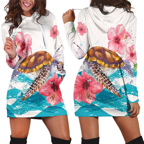Hawaiian Turtle Hibiscus Waves Polynesian Hoodie Dress - AH - A0