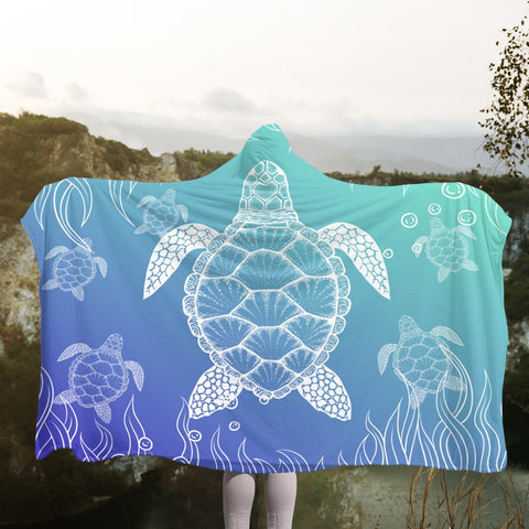 Hawaiian Turtle In The Sea Polynesian Hooded Blanket - AH - JR | Hawaii Hooded Blanket - Hawaiian Hooded Blanket - Hooded Blanket For You