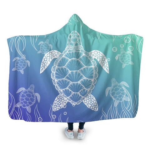 Hawaiian Turtle In The Sea Polynesian Hooded Blanket - AH - JR