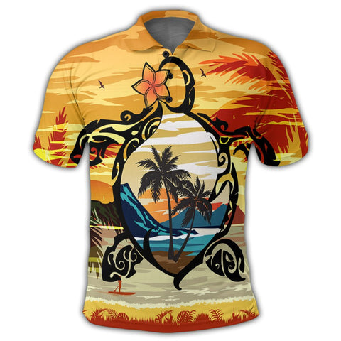 Hawaiian Turtle Plumeria Coconut Tree Polynesian Polo Shirt Gold - AH - J4R | Alohawaii Store | Hawaiian Polo Shirt Hawaiian Polo Shirt - Hawaii Polo Shirt For Men - Hawaii Polo Shirt For Women - Hawaii Polo Shirt For Kane - Hawaii Polo Shirt For Wahine