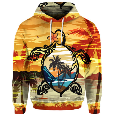 Hawaiian Turtle Plumeria Coconut Tree Polynesian Hoodie Gold | AH