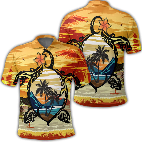 Image of Hawaiian Turtle Plumeria Coconut Tree Polynesian Polo Shirt Gold - AH - J4R