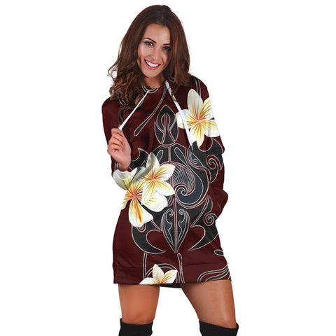 Hawaiian Turtle Plumeria Polynesian Hoodie Dress Red - AH - JR | Hawaiian Women's Hoodie Dress - Hawaiian Hoodie Dress
