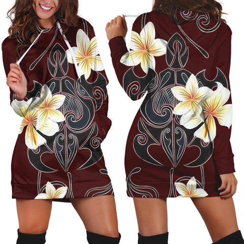Hawaiian Turtle Plumeria Polynesian Hoodie Dress Red - AH - JR