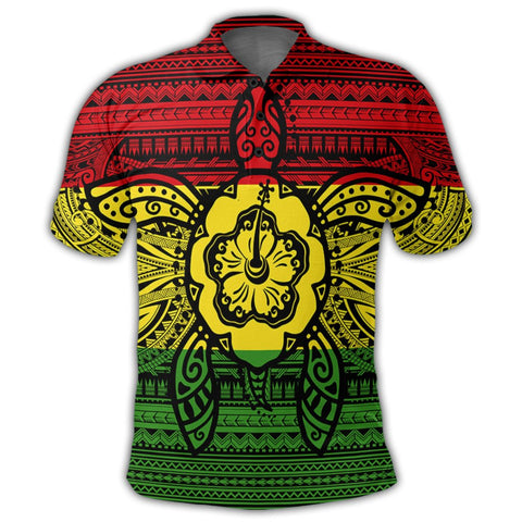 Image of Hawaiian Turtle Polynesian Tribal Polo Shirt Reggae AH - J7R | Alohawaii Store | Hawaiian Polo Shirt Hawaiian Polo Shirt - Hawaii Polo Shirt For Men - Hawaii Polo Shirt For Women - Hawaii Polo Shirt For Kane - Hawaii Polo Shirt For Wahine