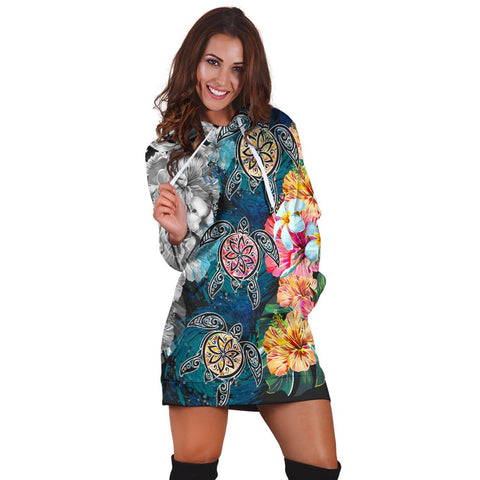Hawaiian Turtle Swimming Wave Plumeria Hibiscus Polynesian Hoodie Dress - Garden Style - AH - J5R | Hawaiian Women's Hoodie Dress - Hawaiian Hoodie Dress