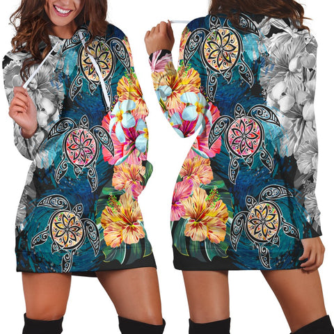 Hawaiian Turtle Swimming Wave Plumeria Hibiscus Polynesian Hoodie Dress - Garden Style - AH - J5R