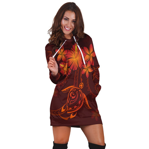 Hawaiian Turtles Hibiscus Plumeria Polynesian Hoodie Dress - Red - AH - J4R | Hawaiian Women's Hoodie Dress - Hawaiian Hoodie Dress
