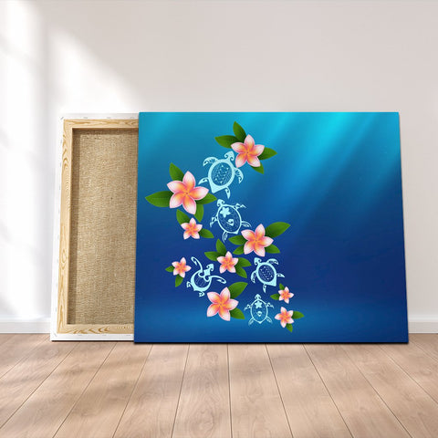 Hawaiian Tuttle And Plumeria Flower In The Sea Polynesian Canvas - AH - JRC