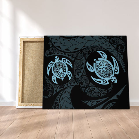 Hawaiian Two Turtle Polynesian Canvas Pastel Blue AH - J7C