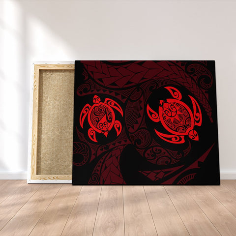 Hawaiian Two Turtle Polynesian Canvas Red AH - J7C