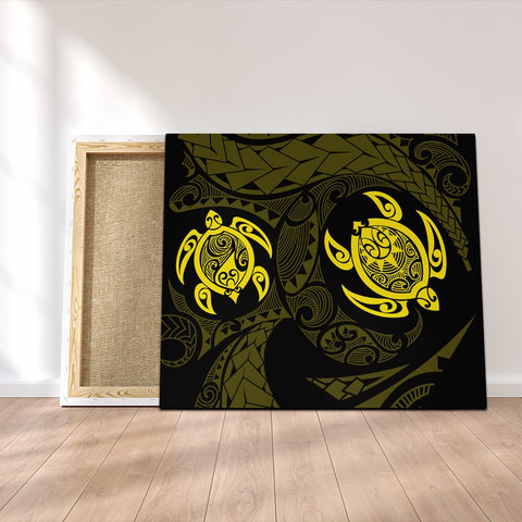 Hawaiian Two Turtle Polynesian Canvas Yellow AH - J7C