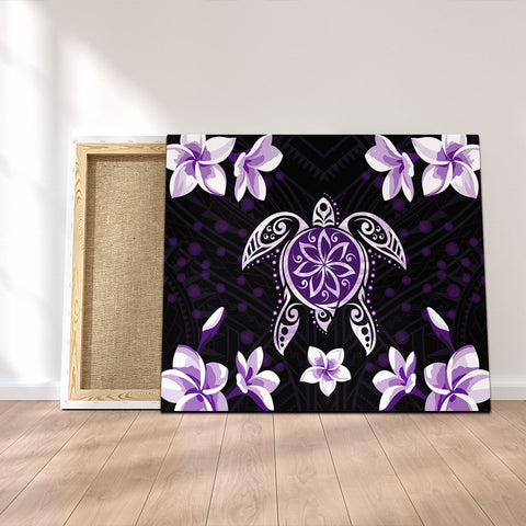 Hawaiian Violet Turtle Plumeria Canvas AH - J0C