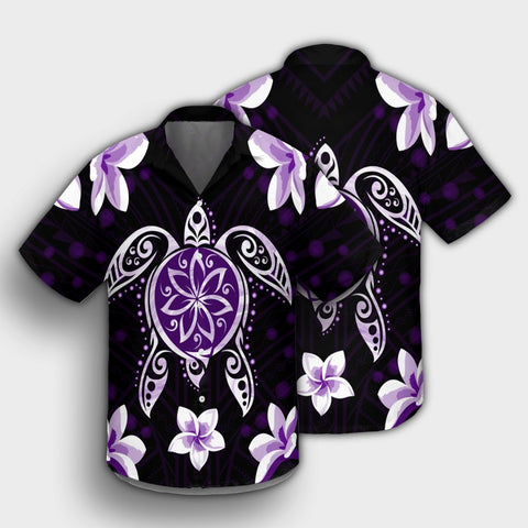 Hawaiian Violet Turtle Plumeria Hawaiian Shirt AH - J0R - Alohawaii