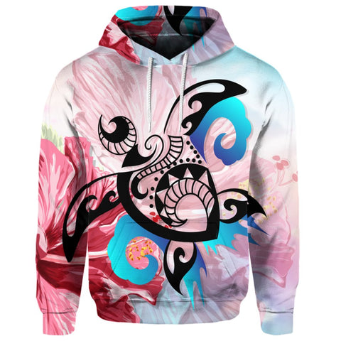 Hawaiian Wave Hibiscus Watercolor Turtle Polynesian Hoodie | AH