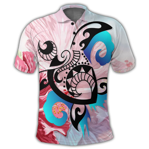 Hawaiian Wave Hibiscus Watercolor Turtle Polynesian Polo Shirt - AH - J4R | Alohawaii Store | Hawaiian Polo Shirt Hawaiian Polo Shirt - Hawaii Polo Shirt For Men - Hawaii Polo Shirt For Women - Hawaii Polo Shirt For Kane - Hawaii Polo Shirt For Wahine