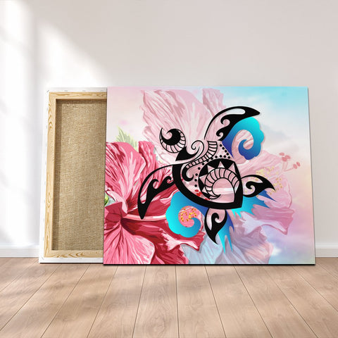 Hawaiian Wave Hibiscus Watercolor Turtle Polynesian Canvas - AH - J4C