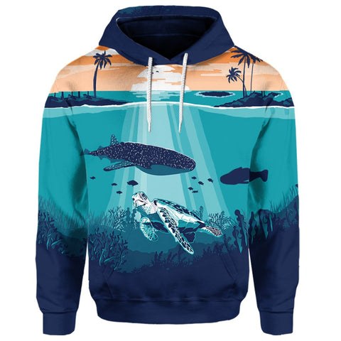 Hawaiian Whale And Turtle In Sunset Polynesian Hoodie | AH
